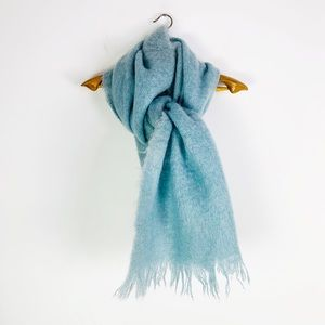 Vintage Mohair Wool Baby Blue Fuzzy Blanket Scarf